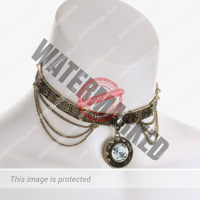 Vintage style choker with drop pendant.