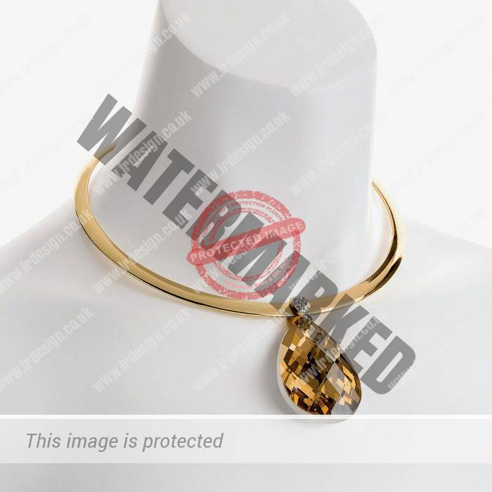 Gold choker with drop pendant.