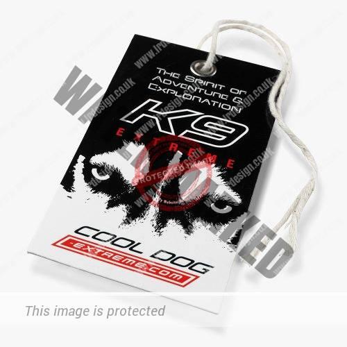 K9 Extreme clothing swing ticket.