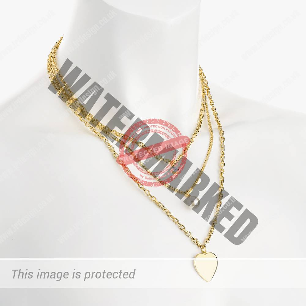 3 row gold necklace.