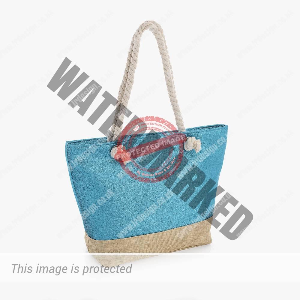 Metallic blue rope bag.