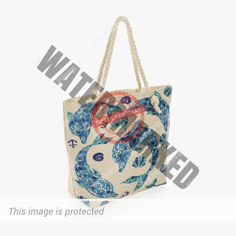 Blue dolphin print rope bag.