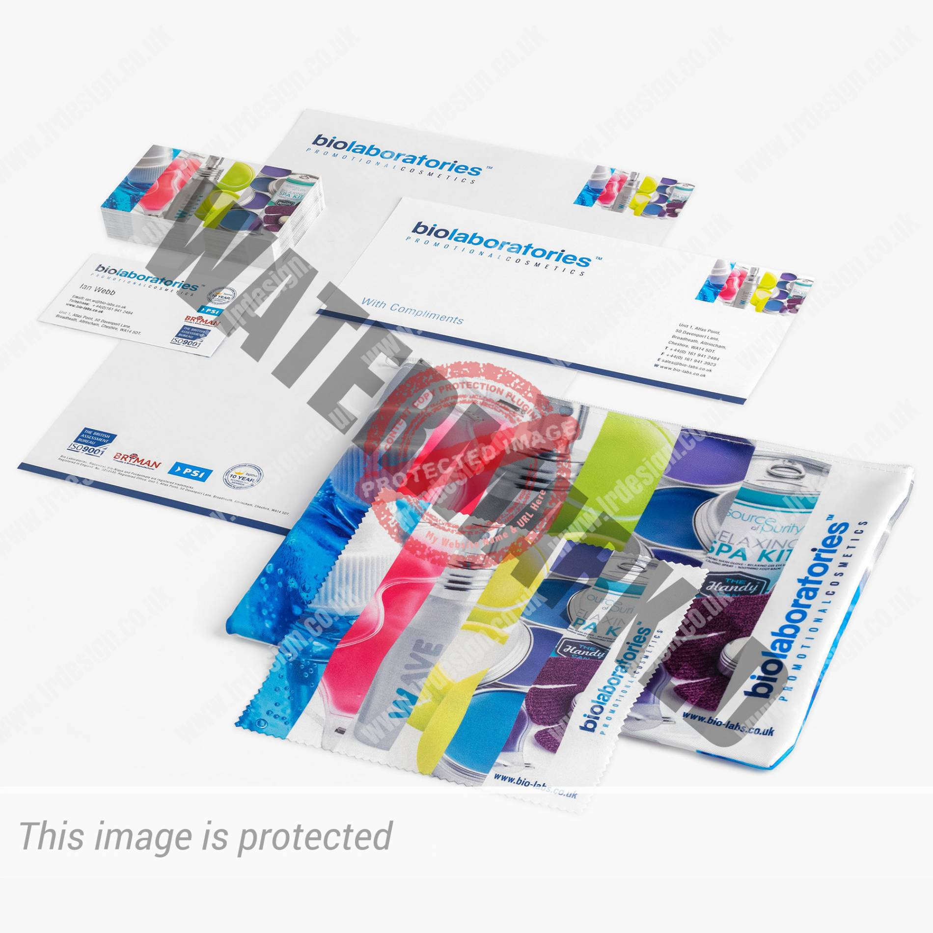 Stationary and incentive products for Bio Laboratories promotional cosmetics.