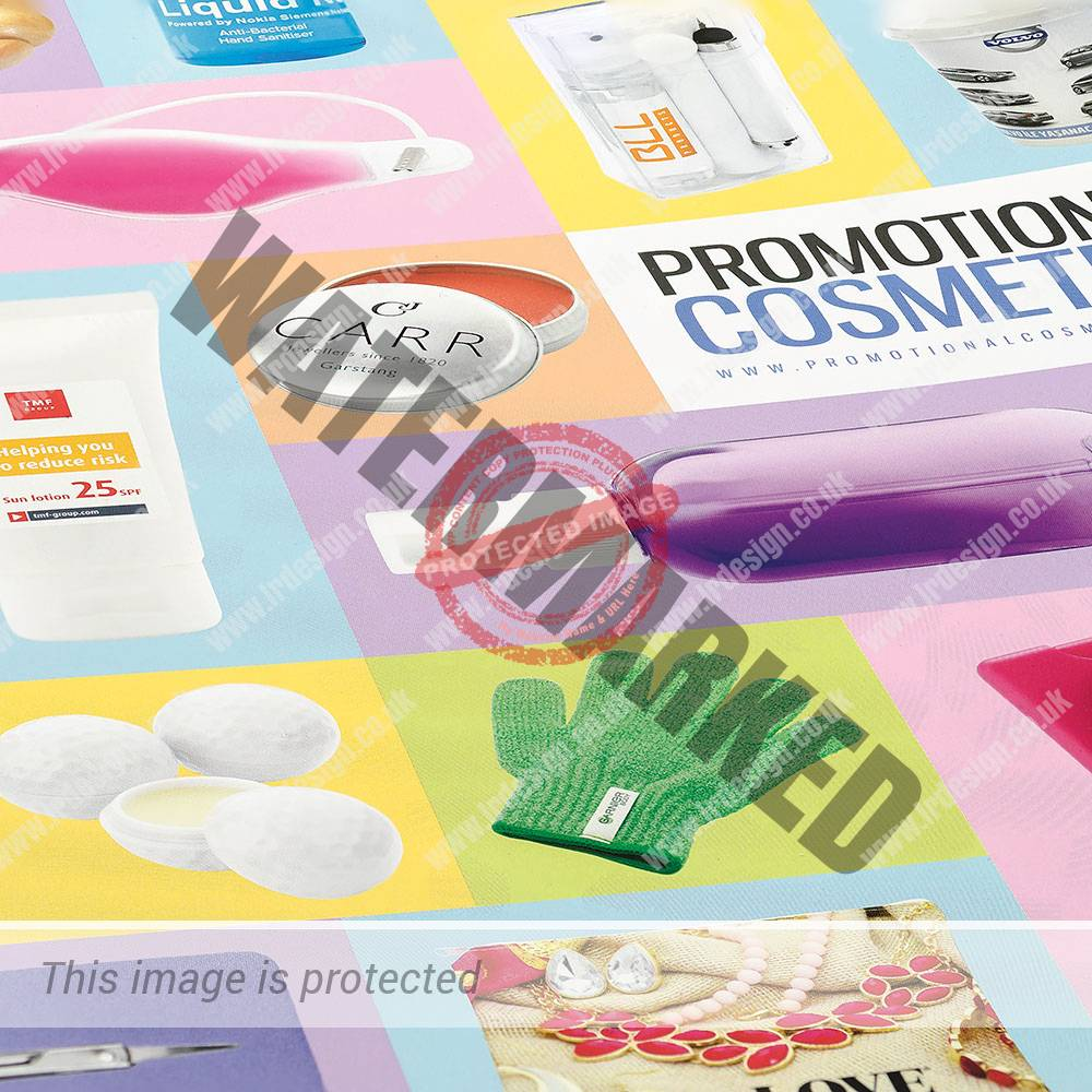 Close up section of Promotional Cosmetics brochure.