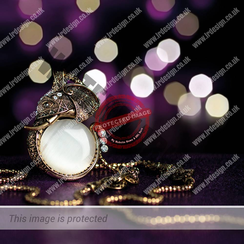 Necklace and Pendant on a Purple Bokeh Background.