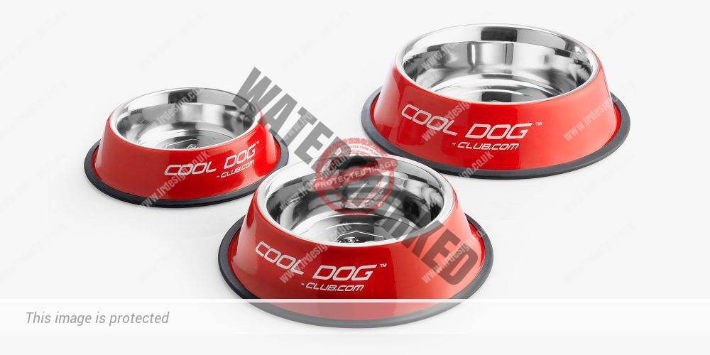 Pet brand cooldog-club.com selection of red food bowls.