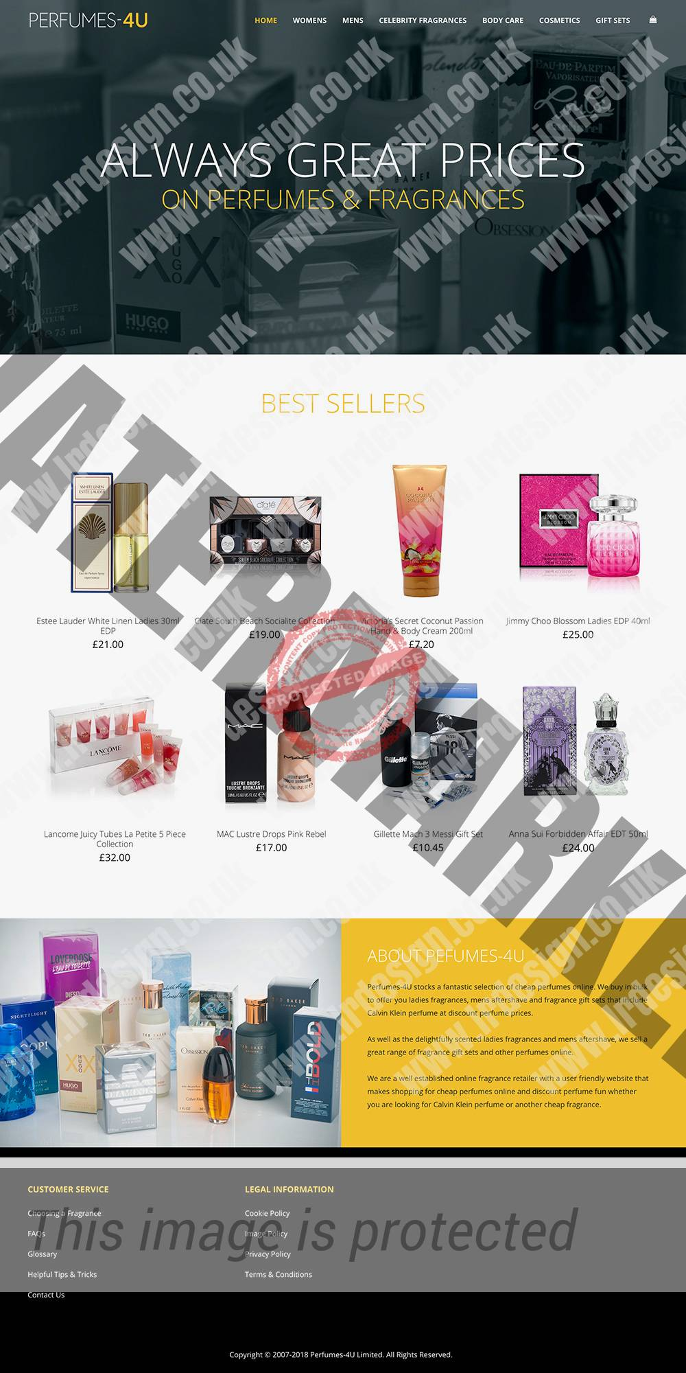 Perfumes-4U website home page.