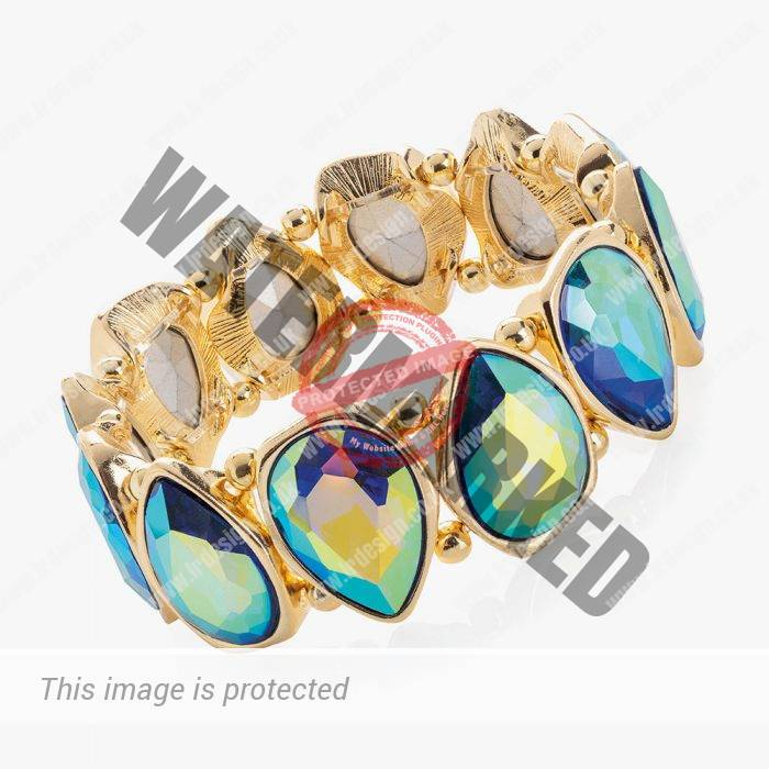 Gold and multi colour faceted bracelet.