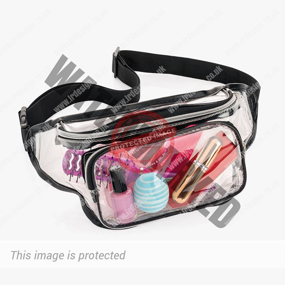 Black and clear bum bag.