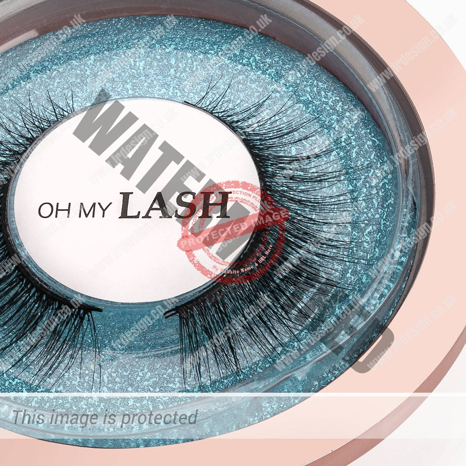 Close up of Oh My Lash blue compact.