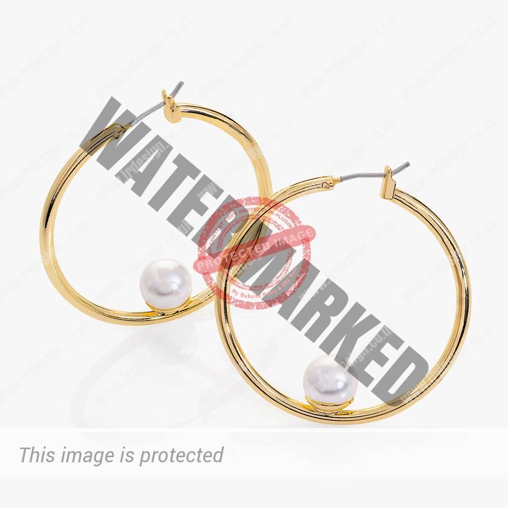 Gold hoop earrings.