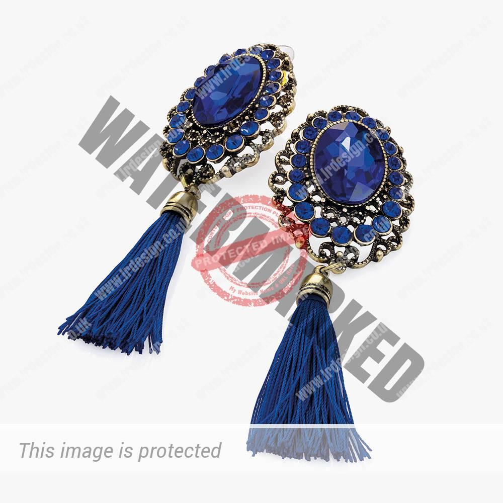 Dark blue crystal drop earrings.