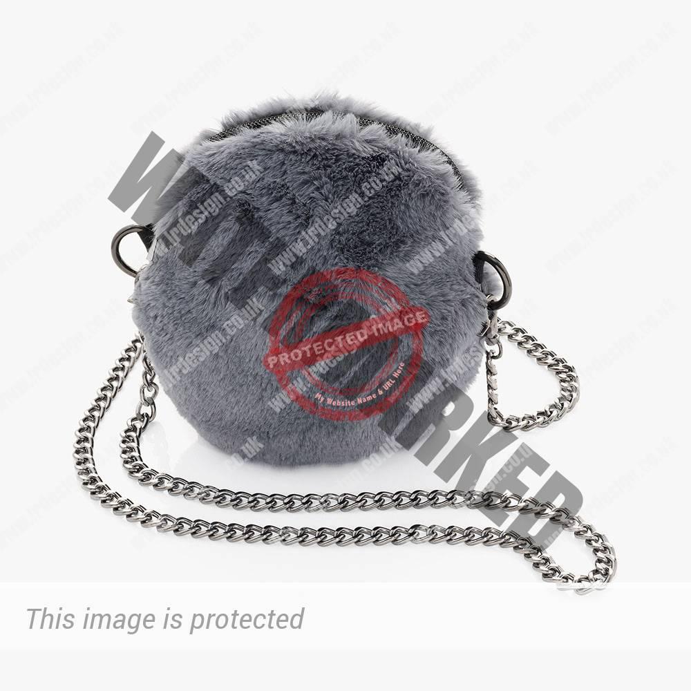 Grey faux handbag.