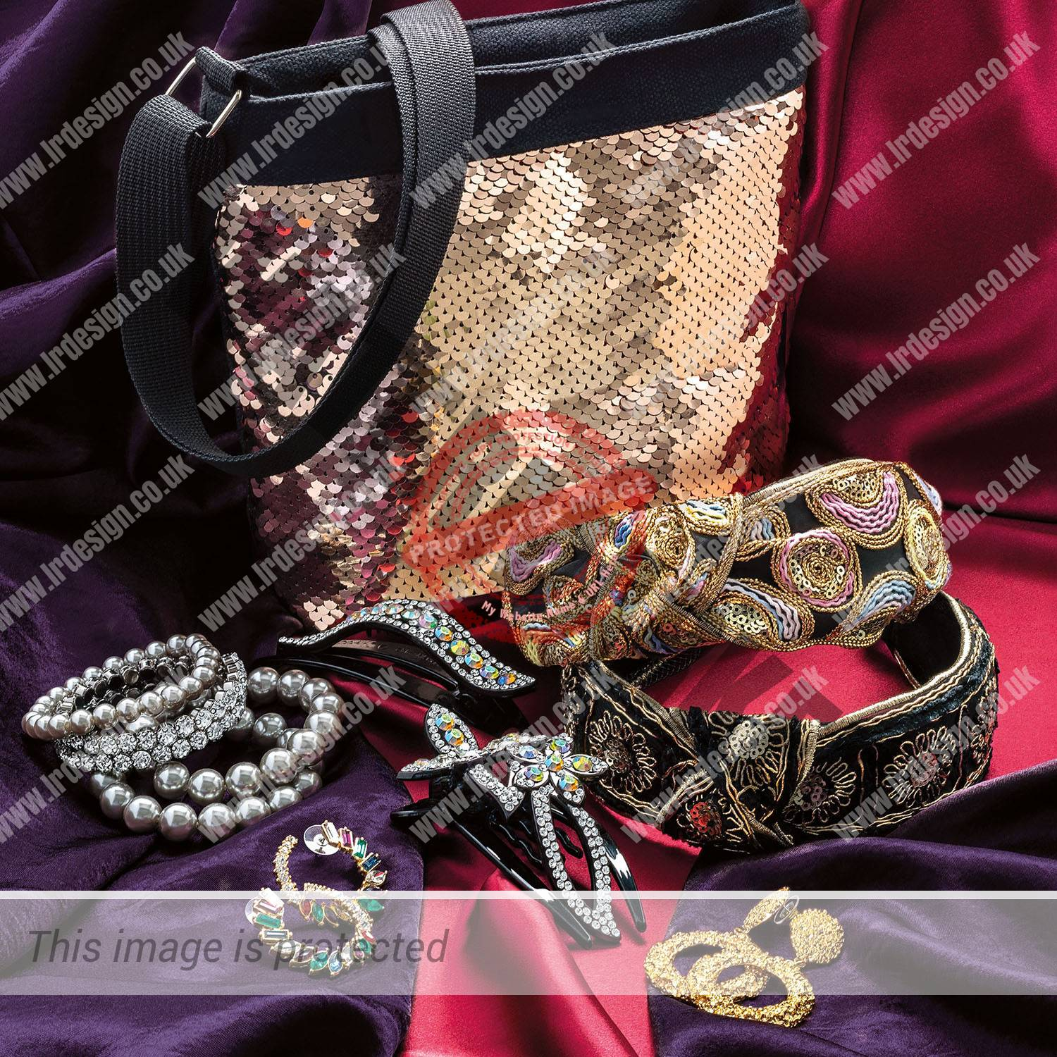 A collection of jewellery, hair accessories with sequin bag.