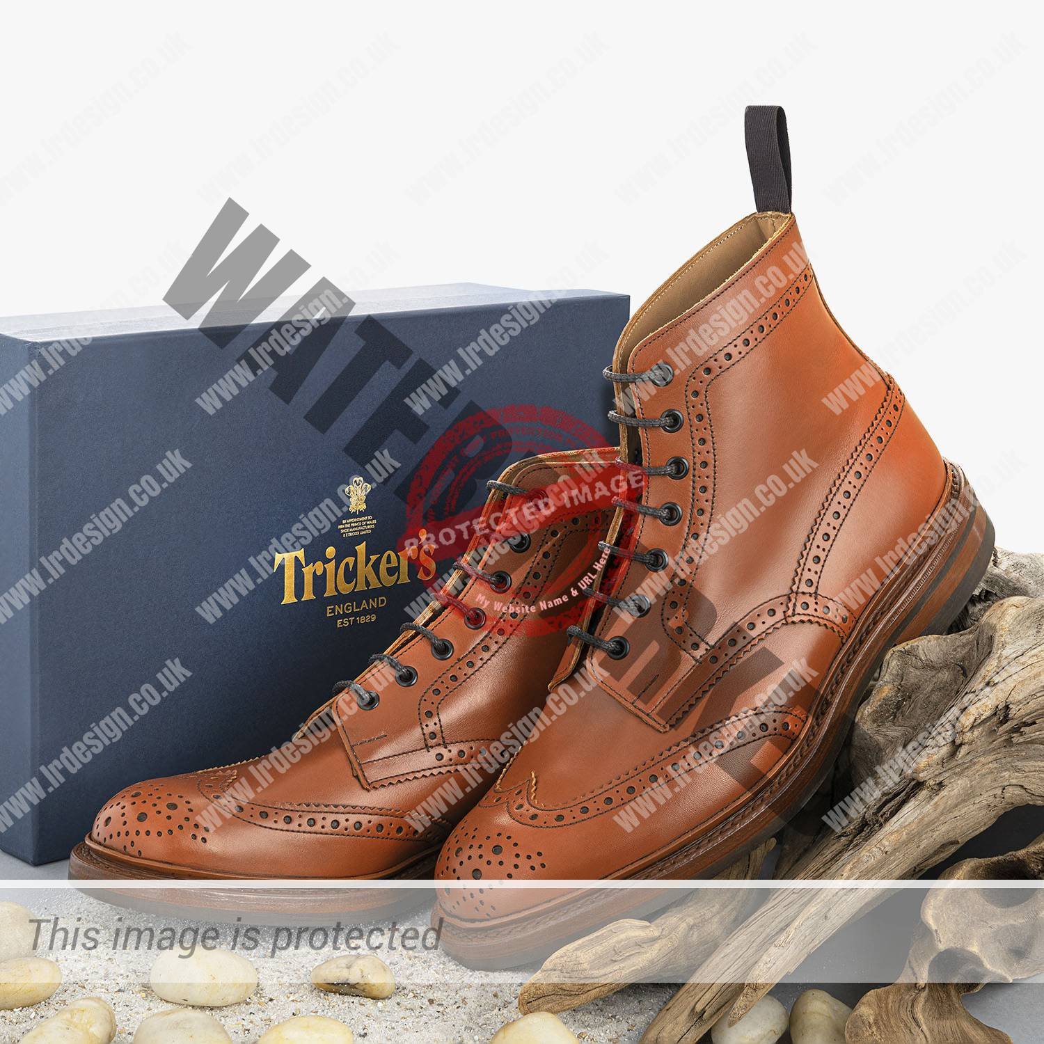 Tickler's handmade men's country boots on the beach.