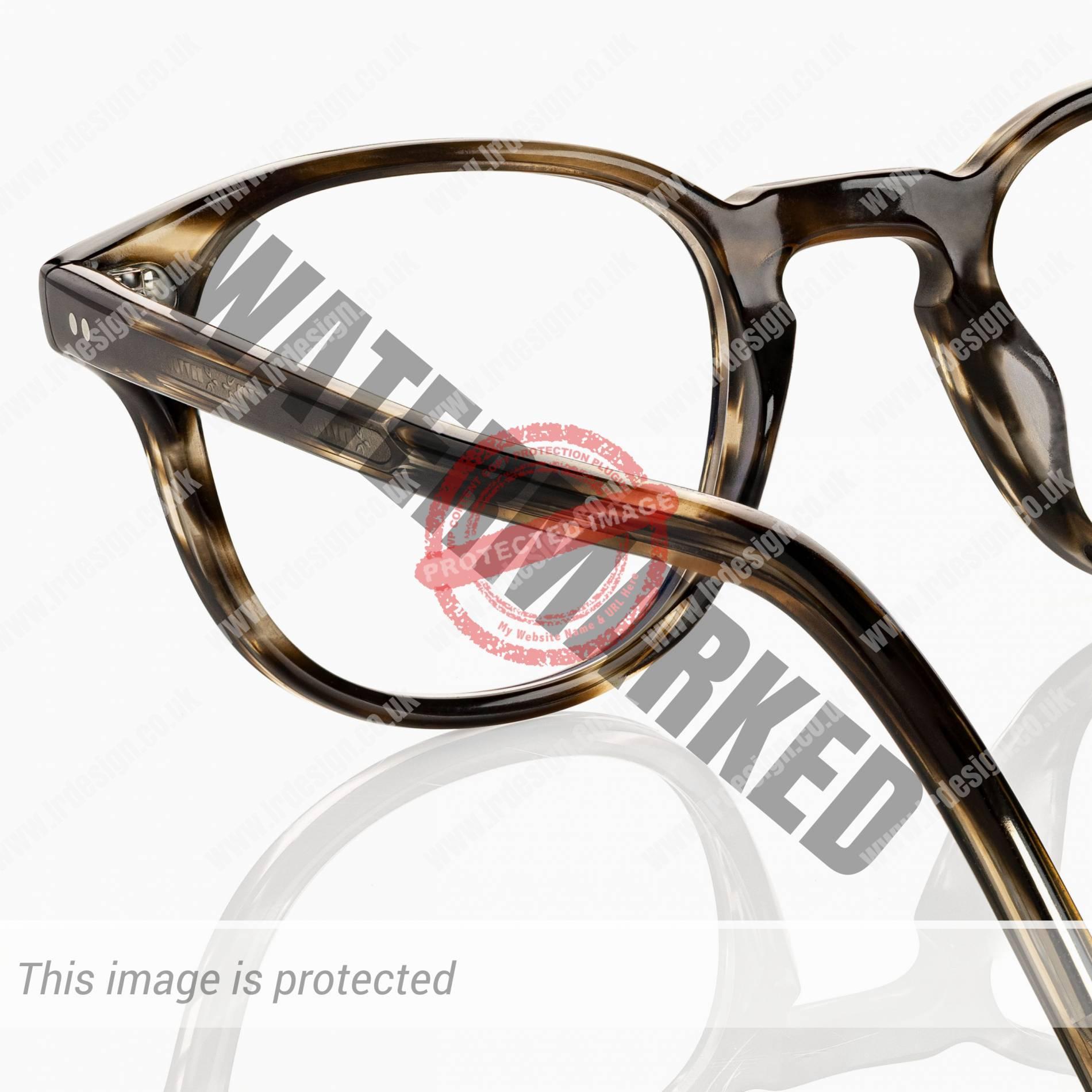 Oliver Peoples designer glasses, close up side profile.