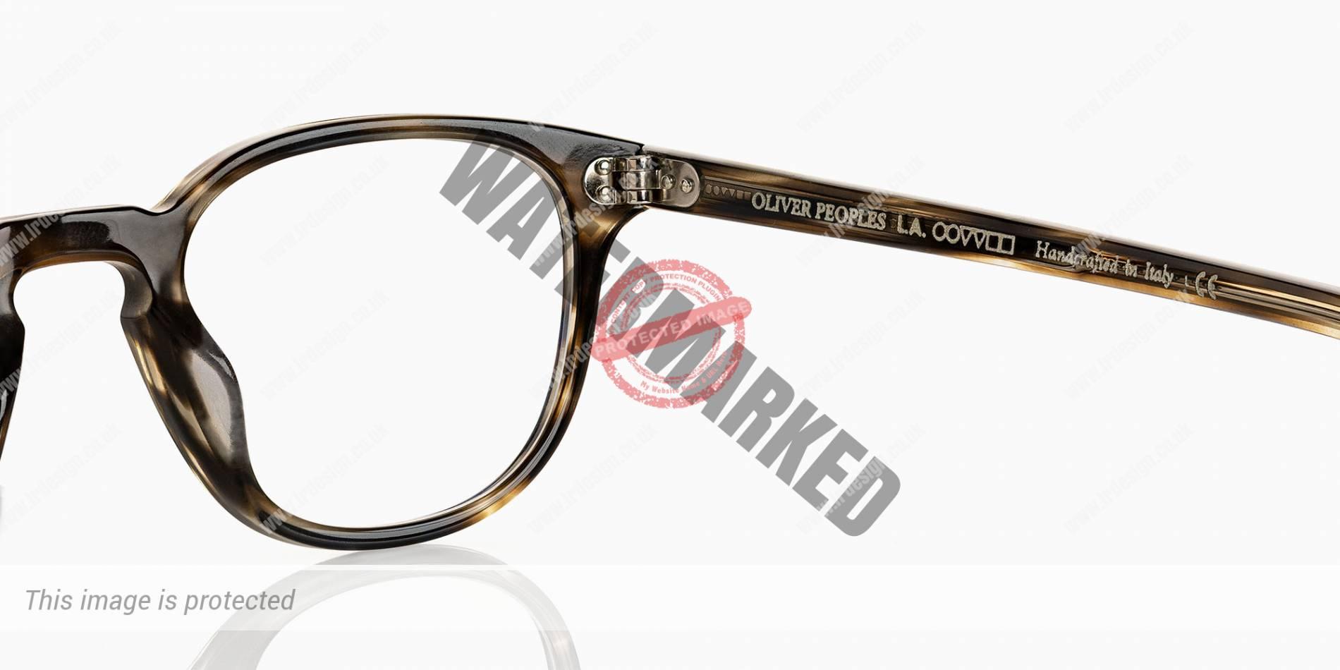 Oliver Peoples designer glasses, side profile.