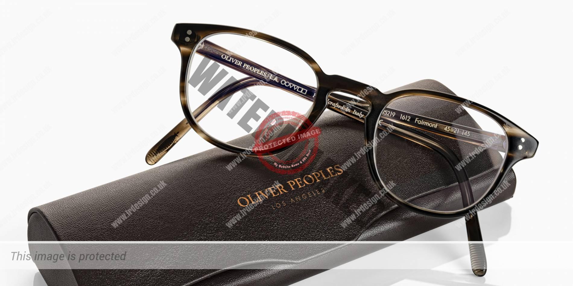 Oliver Peoples designer glasses, case and glasses.