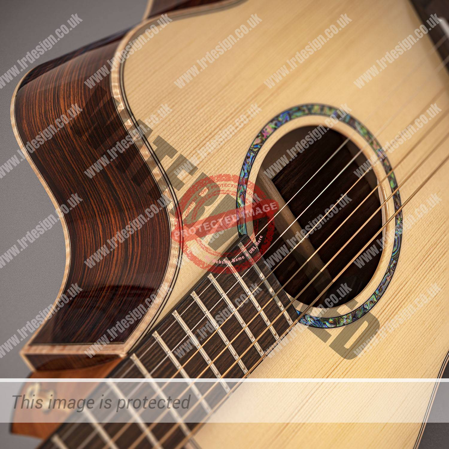 Faith acoustic guitar, close up of the rosette and sound hole.