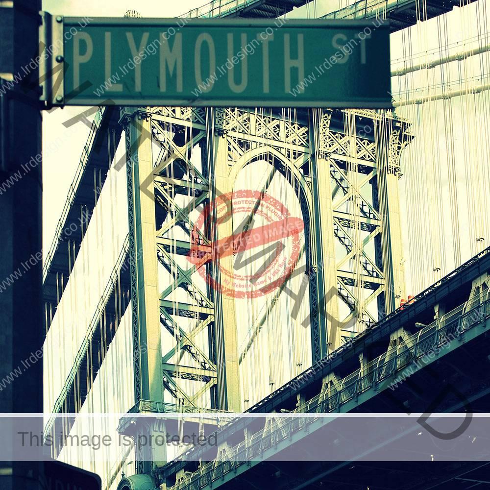 New York bridge with Plymouth Street Sign.