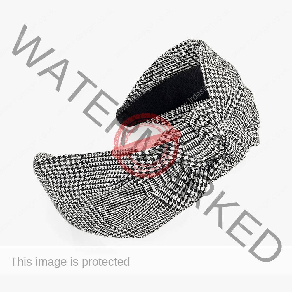 Black and white plaid headband.