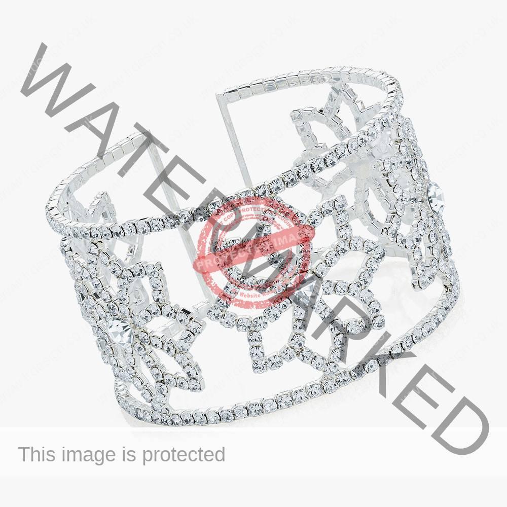 Crystal silver cuff bangle.