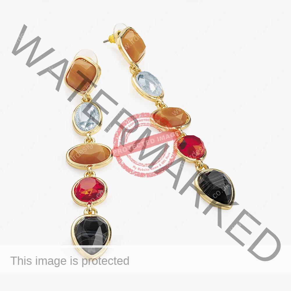Multi colour stone gold drop earrings.