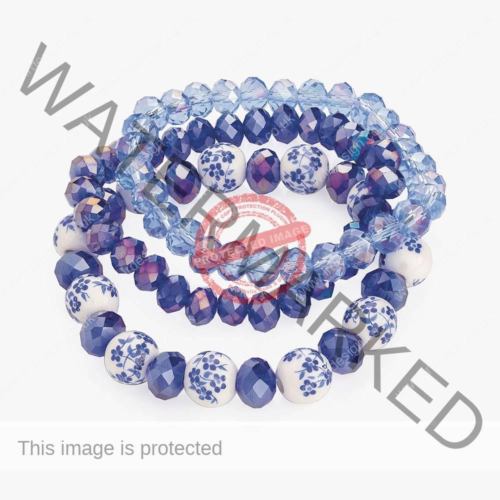 3 Piece blue bracelet set.