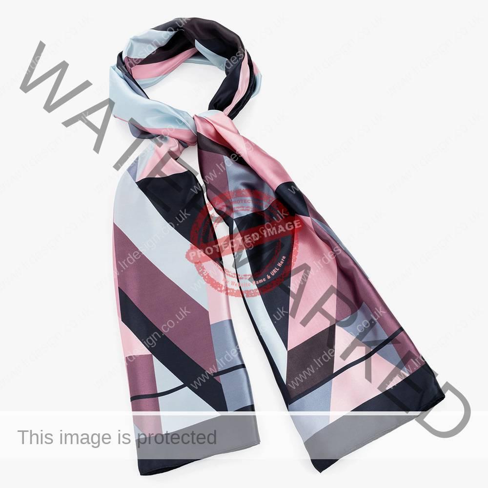 Multi colour satin scarf.