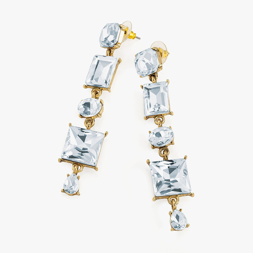 Stress gold crystal drop earrings.