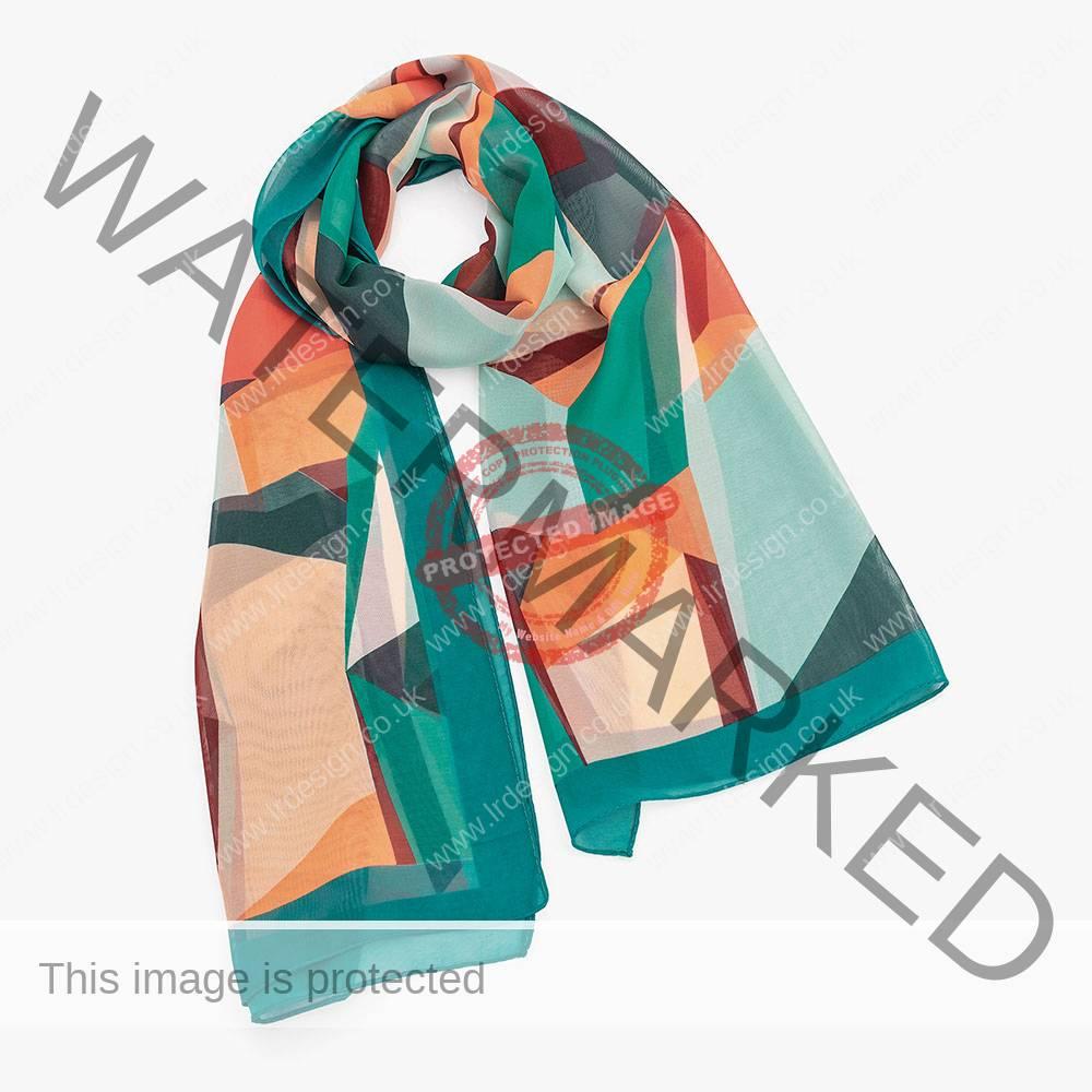 Multi coloured symmetrical printed scarf.