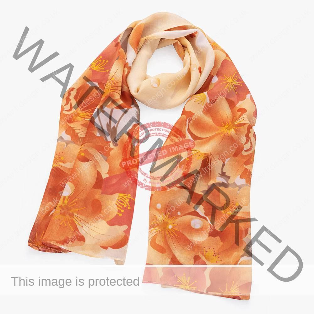 Floral scarf.