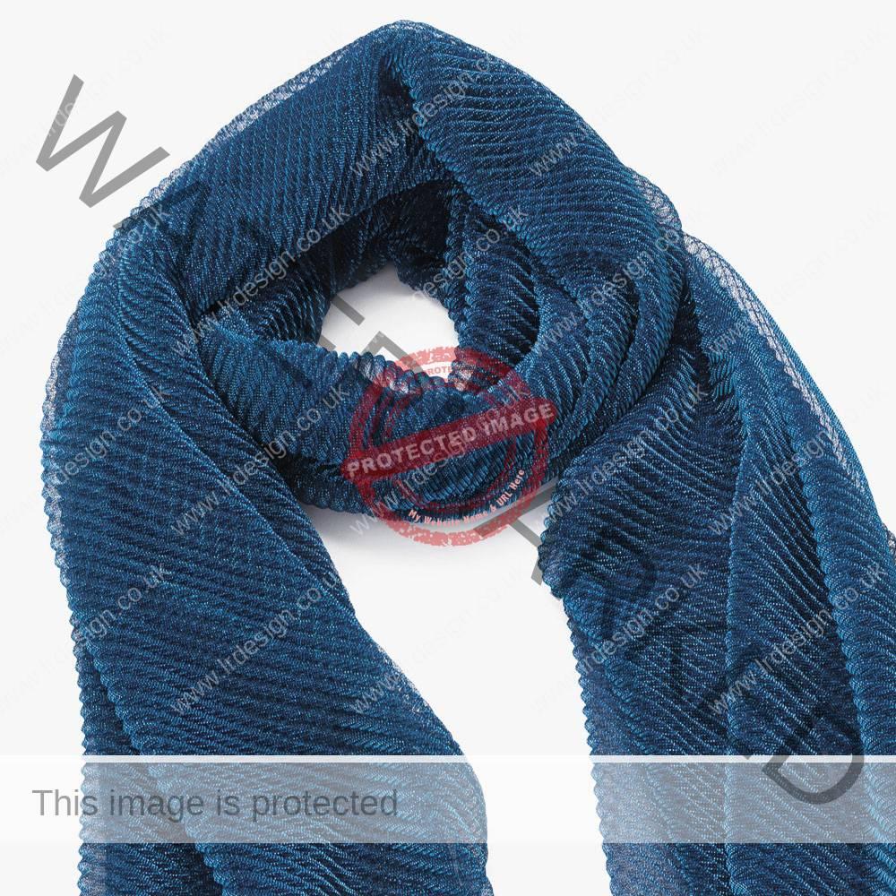 Metallic effect deep blue scarf.