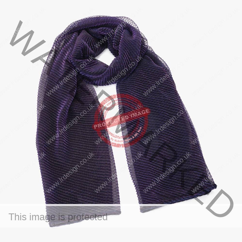 Metallic purple scarf.