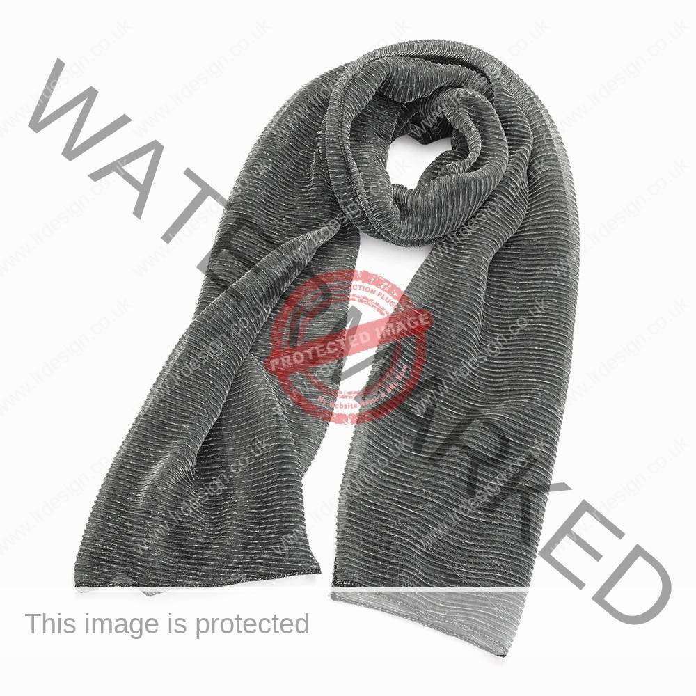 Metallic grey scarf.