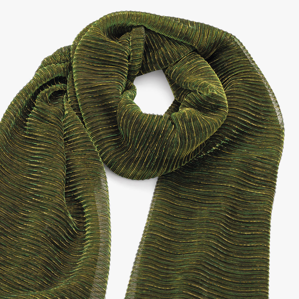 Metallic effect deep green scarf.