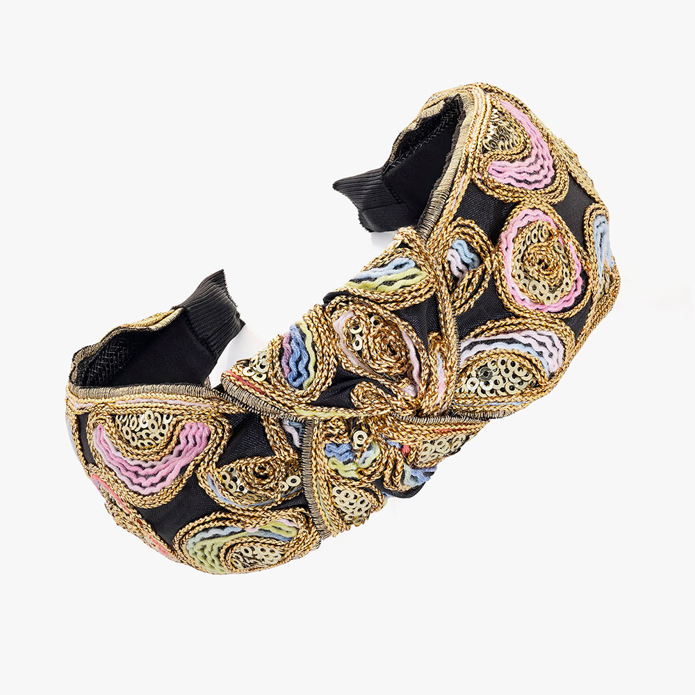 Sequin black and gold headband.
